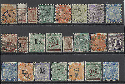 SOUTH AUSTRALIA  all different selection of used oddments to 6d incl OS & surchs