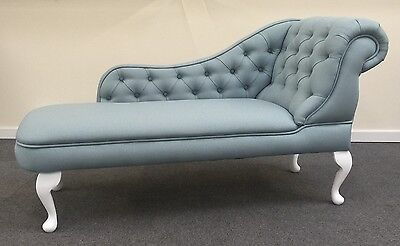 Designer Traditional Chaise Longue in Duck Egg Bue linen Fabric NEW
