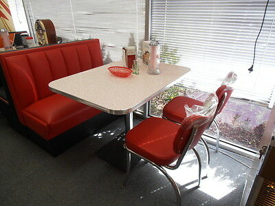 USA Made 50's Retro Hollywood Diner Booth + 2 Chairs & Table New Mr Pinball