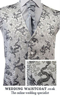 1 NEW Silver & Black DRAGON embroidered WAISTCOAT - Small, Med, Large, XL or XXL
