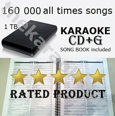 CD+g KARAOKE Collection USB 3.0 Hard Drive 150 000 all times songs 1 Tb HDD