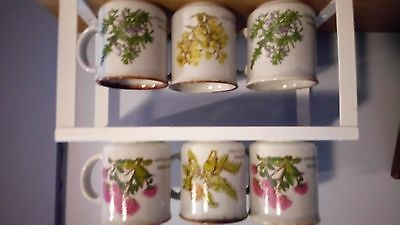 6 vintage speckled stoneware mugs herbs Made in England