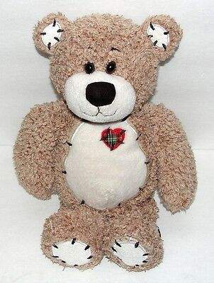 First & Main Brown Plush Tender Teddy with Plaid Heart 8 in