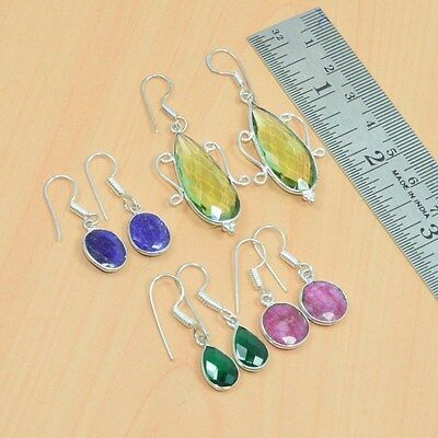 Wholesale Lot 4Pair 925 Silver Plated Peridot,ruby Mix Gemstone Hook Earring Lot