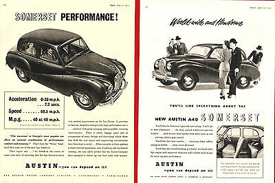The  AUSTIN  A40 SOMERSET    (1952 Advertisements x 2)