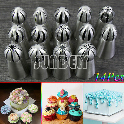 14pcs/set Sphere Ball Tips DIY Russian Icing Piping Nozzles Tips Pastry Cupcake