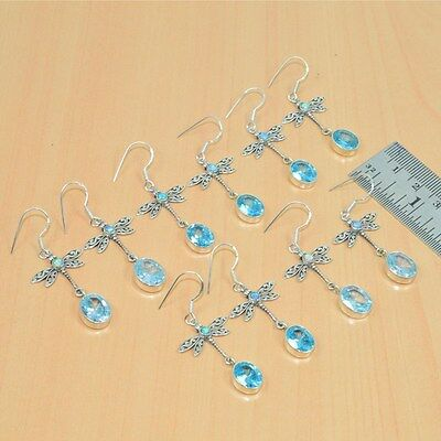 925 Solid Sterling Silver Wholesale 5Pair Blue Topaz,ethiopian Opal Earring Lot