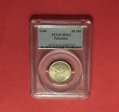 PALESTINE -UNC 50 MILS 1940  SILVER COIN ,CERTIFIED BY PCGS MS63 .rare grading.