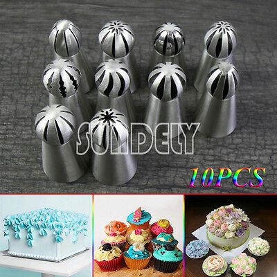 10Pcs Sphere Ball Russian Icing Piping Nozzles Tips Pastry Fondant Cake DIY Tool