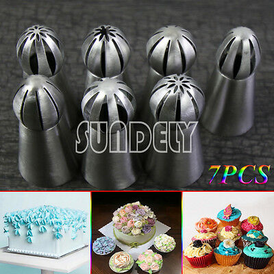 7pcs/set Sphere Ball Tips DIY Russian Icing Piping Nozzles Tips Pastry Cupcake