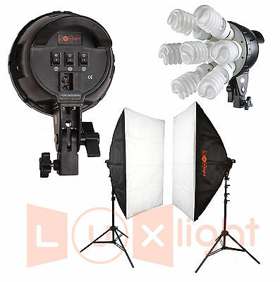 Softbox Continuous Lighting kit - 2100w - LuxLight - 7 Bulb Two Head fluorescent