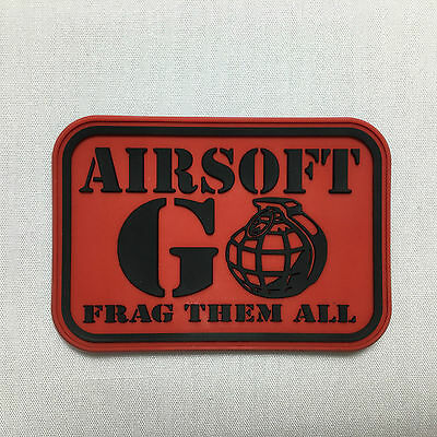 AIRSOFT GO Velcro Patch - Red airsoft military milsim tactical morale badge