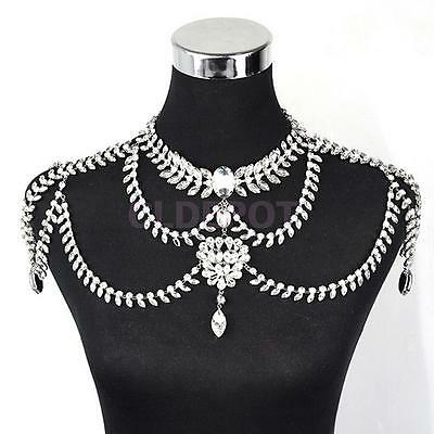Rhinestone Wedding Prom Jewelry Sets Shoulder Chain Necklace Crystal Earring