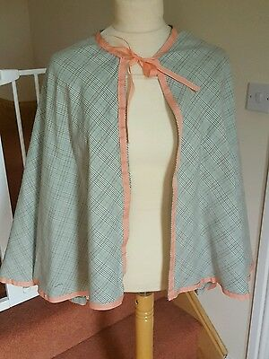 Ladies Grey Pink Check Victorian Style Cape Stage Pantomime Ex Hire