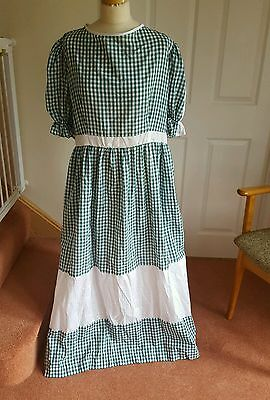 Ladies Green Gingham Victorian Style Dress Dame Pantomime size 18