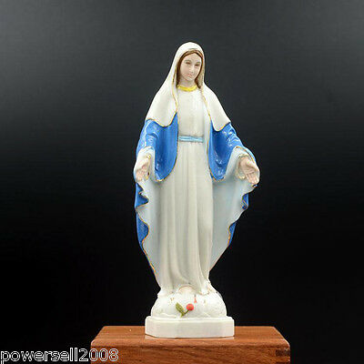 Catholic Church Christian Blessed Virgin Mary Statue Resin Decoration Gift Blue.