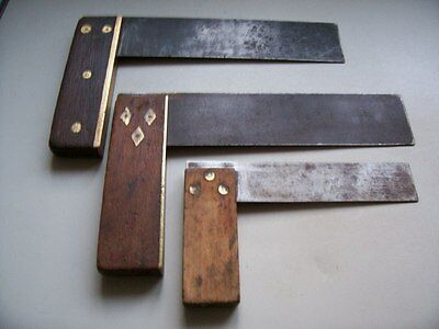 """Three Old Joiners Carpenters  Set Squares (2) 7"""" - 11"""" (1) 4""""1/2 - 8 / Old Tools"""