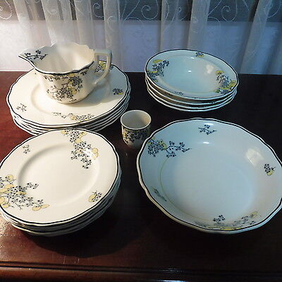 """Collection of Royal Doulton """"Carnival"""" Dinnerware (18 Pieces)  D5565 c.1930's"""
