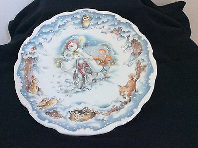 Royal Doulton Snowman Plate Fourth in Series The Snowman's Motorbike Ride