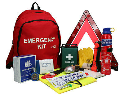Car Emergency / First Aid / Accident and Breakdown Kit with Fire Extinguisher