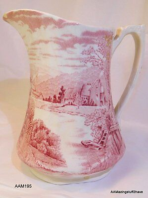 Vintage Alfred Meakin Pitcher Tintern Pink Engraved Made In England