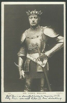 Lewis Waller Stage Actor As A Knight 1904 Beagles Real Photo Postcard