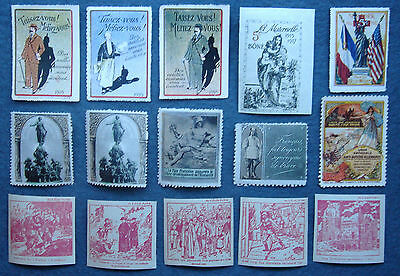WW1 DELANDRE Poster Stamps And Other Assorted Labels (15)