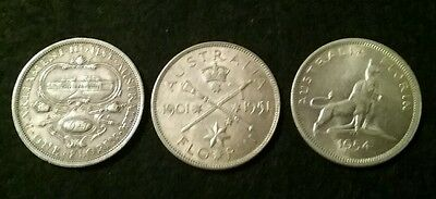 COMMEMORATIVE FLORINS  - 1927/1951/1954 (3 coins)