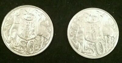 1966 Australian Round 50 cent coins x 2 (Two) 80% SILVER