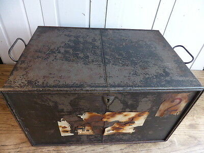 Antique industrial style metal deed box no 2