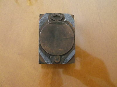 Vintage Copper Printing Block Wood Base Of Antique Watch Fob 2.5X1.5  Inch Size