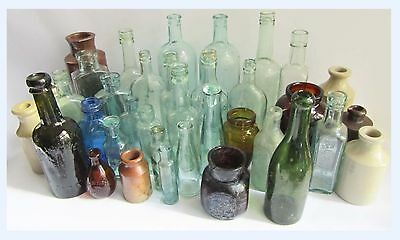 37 x Vintage Old Glass Stoneware bottles Job Lot, Various Types, Ages, Sizes