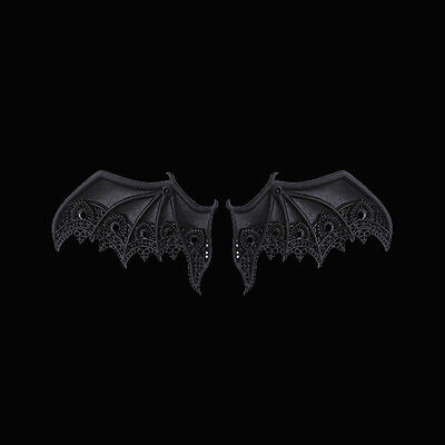 RESTYLE PAIR OF LACE BAT WINGS HAIRCLIPS. MATTE BLACK. GOTHIC ACCESSORIES. Vamp.
