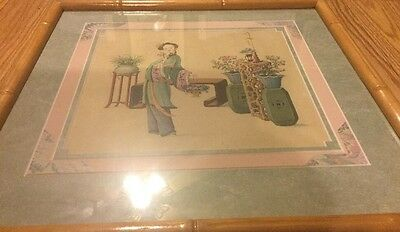 CHINESE Lady Print Paint Nicely Framed Bunell Frame Shop Newbury St. Boston