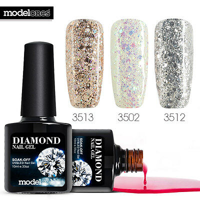3PCS 10ML Modelones Diamond Glitter Soak Off UV/Led Color Gel Nail Polish Set