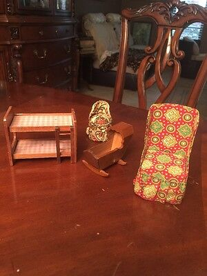 Vintage Child Doll HOUSE CRADLE BUNK BED Wood TWO CHAIRS LOT