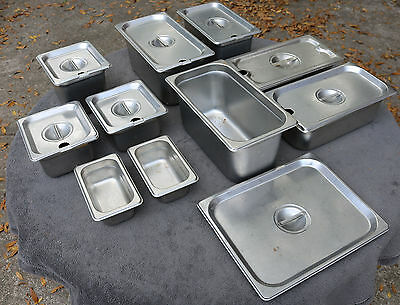 MIXED Lot Steam Table Pan Various Sizes 18/8 Stainless Steel NSF 10 Pan 8 Lid