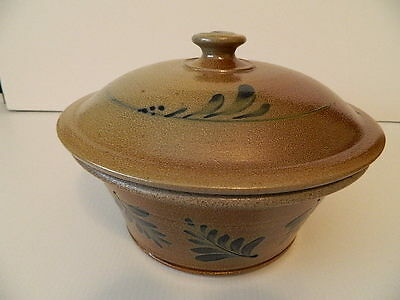 *2005* Rowe Pottery Handmade Leaves Bowl with Lid
