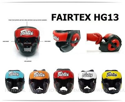 Fairtex Muay Thai Headguard HG13 Full Coverage Diagonal Vision Sparring Head Gea