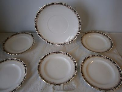 Tuscan China Cake / Sandwich Plate & Side Tea x5 Vintage Selfridge & Co London