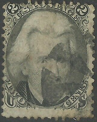 US Stamp 2 cents Black c.1865 Andrew Jackson Fine Used with Fancy Cancel