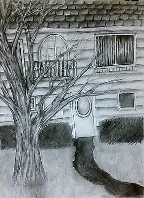 9x12 MS Original Signed Graphite Drawing Backyardscape Sketch
