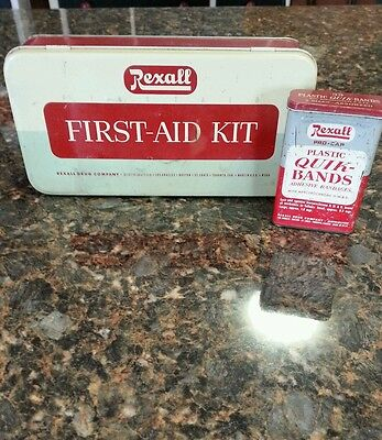 Vintage Rexall Drug First Aid Kit  And Band Aid Box