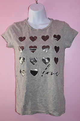 Girls Size 14 P.S. from Aeropostale Gray Short Sleeve Heart Shirt
