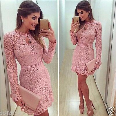 Women Sexy Summer Bodycon Evening Cocktail Party Long Sleeve Floral Mini Dress