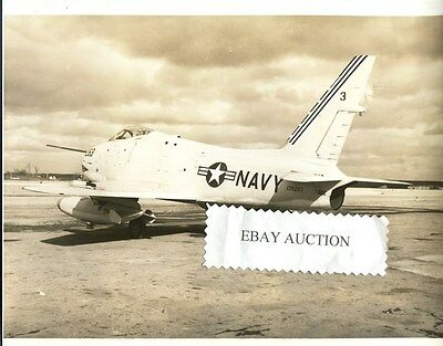 Original NORTH AMERICAN AVIATION FJ-4 FURY 1957 US Navy Squadron Photo