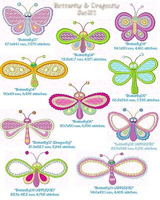 "Set 1 ""Butterfly & Dragonfly"" Machine Embroidery Design, Fast & Free P/p Email"