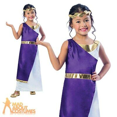 Girls Roman Toga Girl Costume Greek Goddess Fancy Dress Book Day Week Outfit