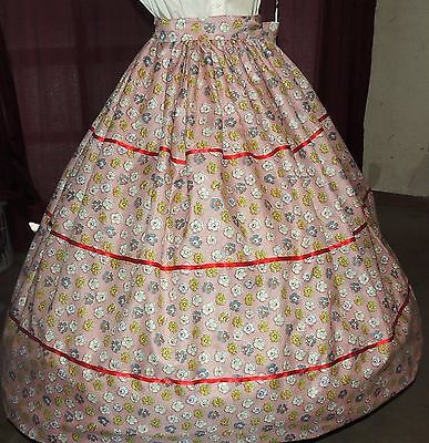 CIVIL WAR PIONEER REENACTMENT VICTORIAN Gown Dress Red Floral Skirt & Sash Set
