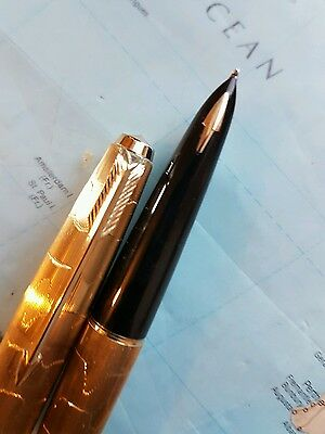 Parker 61 fountain pen rolled gold STRATUS with 14k solid gold nib NEAR MINT